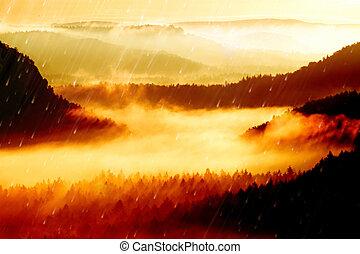 landcape., point jour, effect., collines, hills., pellicule, vallonné, rose, crêtes, brumeux, matin, automne, beau