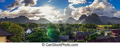 Landcape view panorama in Vang Vieng at Laos.
