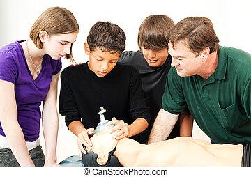lande, masque oxygène, cpr, -, education