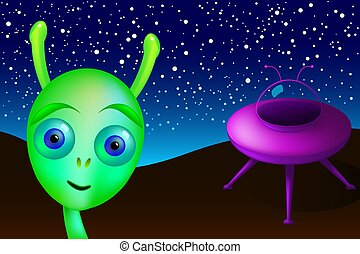 Landed little green alien with saucer visits Earth