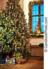 landelijk, boompje, kerstmis