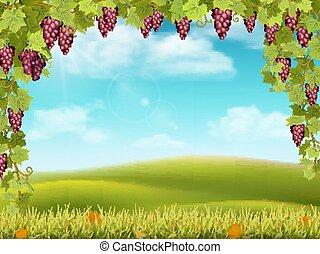 landelijk, druif, boog, landscape, rood