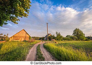 landelijk, farmhouse., lets, landschap.