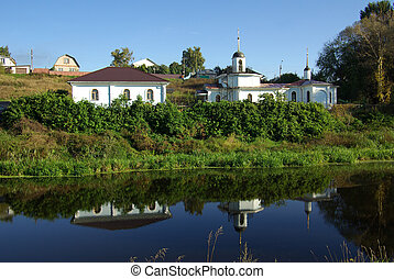 landelijk landschap, met, een, rivier, in, bykovo, rusland