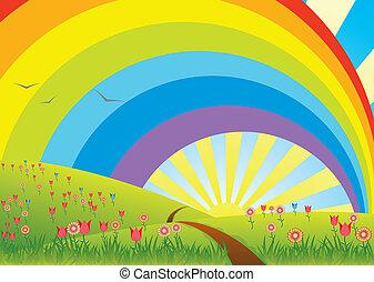 landelijk landschap, met, regenboog