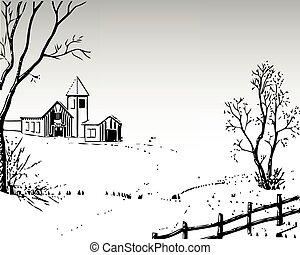 landelijk landschap, vector, winter, illustratie