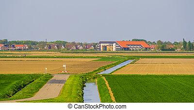 landelijk, stad, skyline, tholen, nederland, zeeland,...