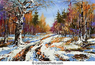landelijk, winterlandschap