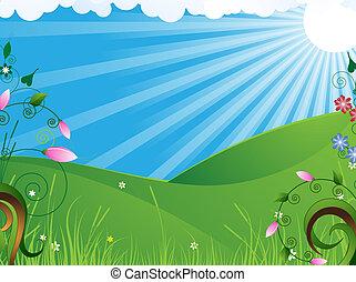 landelijk, zonnig, landscape