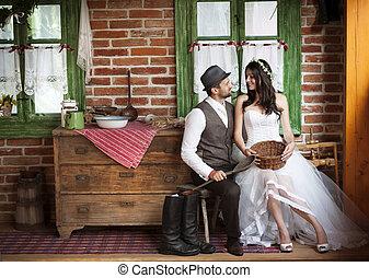 landelijke stijl , bruidegom, trouwfeest, bruid