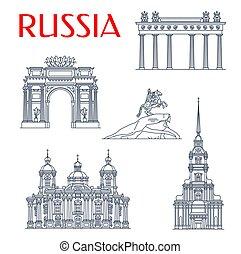 landemærker, helgen, petersburg, russisk, arkitektur