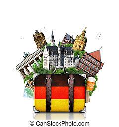 landemærker, tysk, rejse, tyskland