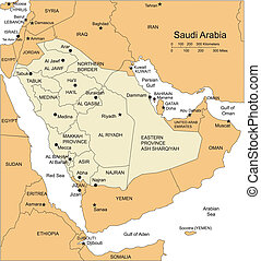 landen, hoofdsteden, districten, omliggend, arabië,...