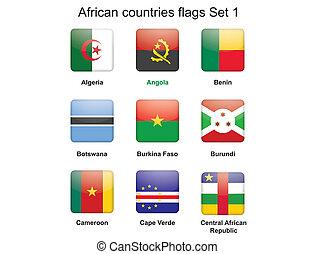 landen, set, vlaggen, afrikaan, een