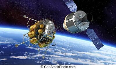 lander lunaire, amarrage, vaisseau spatial