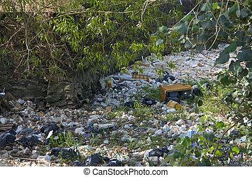 landfill, ao ar livre, riverbed, cambodia, lixo