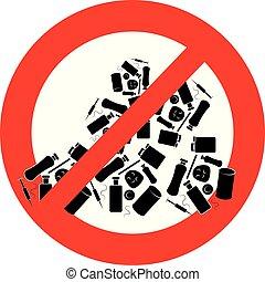Landfill ban- symbol - Landfill ban - symbol isolated on...