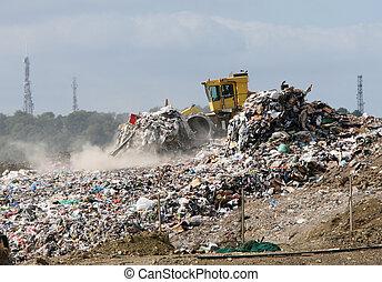 landfill, buldożer, umiejscawiać