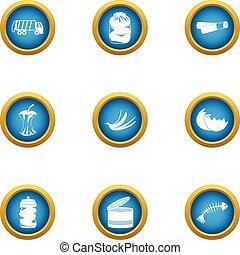 Landfill icons set, flat style - Landfill icons set. Flat...