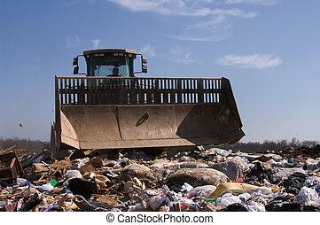 landfill, lastwagen, arbeitende
