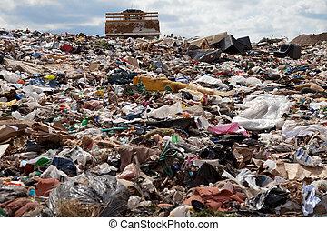 landfill, lastwagen, kommen