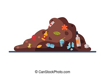 Landfill, Pile of Unsorted Garbage Flat Style Vector Illustration on White Background