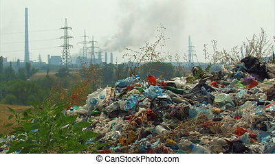 Landfill. - Global pollution. Landfill on the background of...