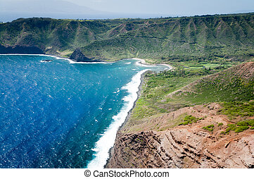 Landforms of Molokai island coast.
