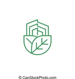 landgoed, boompje, mal, echte, eco, logo, blad, groene, natuur
