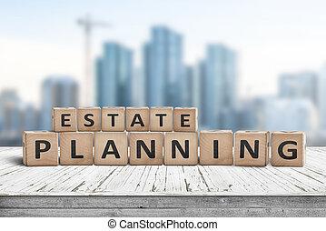 landgoed, planning, meldingsbord, op, een, van hout landingsplaats