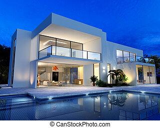 landhaus, teich, luxuriös