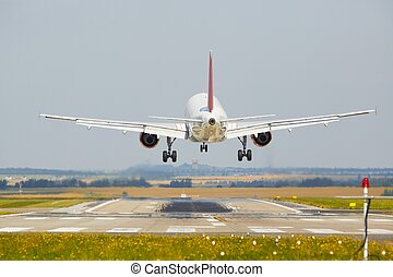 Landing - Airplane is landing at the airport
