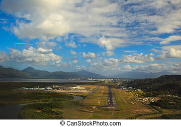 Landing at Cairns Airport on Sunny Day
