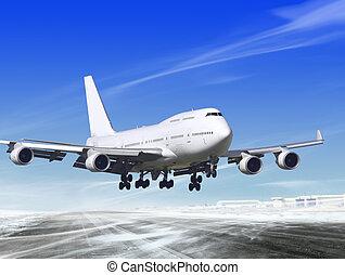 landing away from airport - white passenger plane is landing...