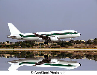 Landing - Civil aircraft jet landing on an airport runway in...