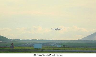 Landing - Airplane makes a smooth landing along the runway...