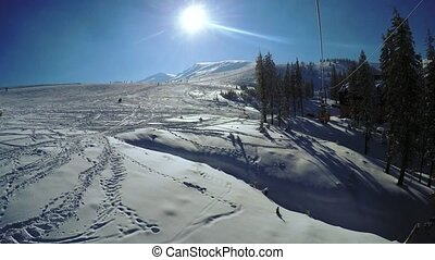 Landing from ski lift - View planted from ski lift
