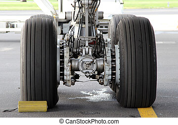 Landing gear - Close-up photo of aircraft main landing gear