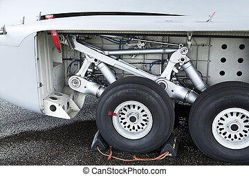 landing gear of jet airplane with stopper