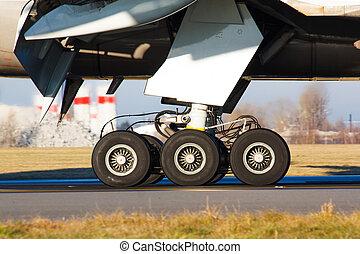 Landing gear with wheels of huge airplane