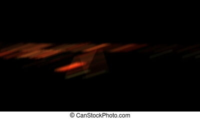 High definition shot of an airplane landing at night from the view of inside the plane.