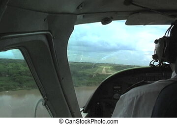 Coming into land on a dirt runway in Selous Game Reserve in Tanzania Africa