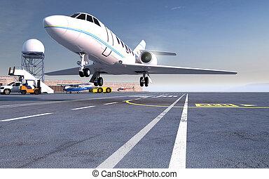 Landing Jet - Landing private jet