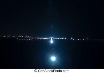 Landing lights at the airport runway
