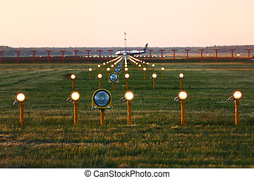 Landing lights in airport