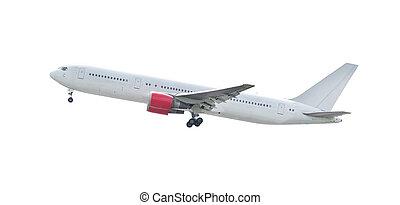 landing of white plane isolated background for multipurpose...