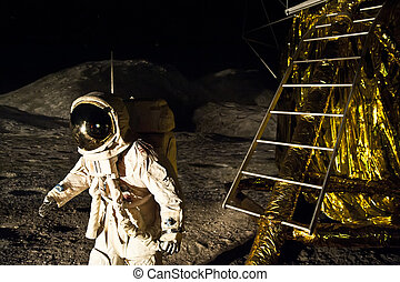 Landing on Moon - Astronaut is landing on the Moon