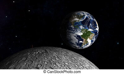 Landing on the moon with earth in t