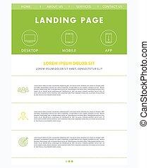 Landing page concept, flat website design template