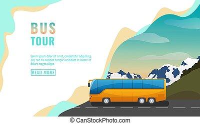 Landing page design, banner with bus tour, tourism concept,...
